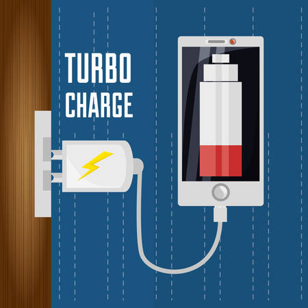 smartphone business: Cellphone with power cable to charge the battery vector illustration