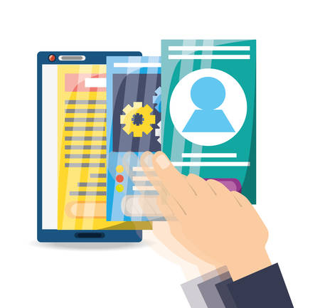 using smart phone: Smartphone apps to can see documents vector illustration