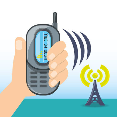 cell tower: Smartphone receiving wifi connection of the tower vector illustration