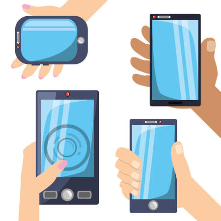 using smart phone: Differents smartphones technology in the hands vector illustration Illustration
