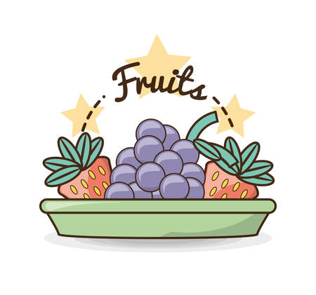 delicious healthy food with nutrition ingredients vector illustration