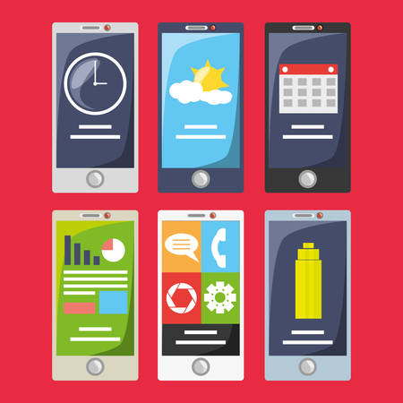 using smart phone: Smartphone with different electronic tools vector illustration