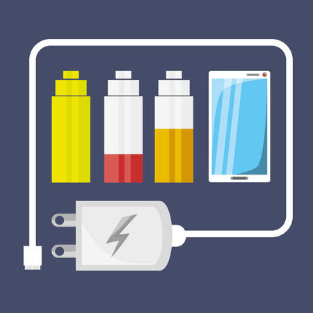 using smart phone: Cellphone with power cable to charge the battery vector illustration