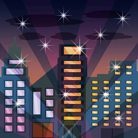 metropolitan: cityscape with buildig in the night vector illustration Illustration