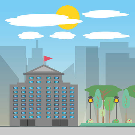 City build tower with light vector illustration