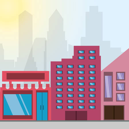 beautiful city with building towers vector illustration Illustration