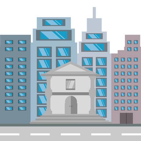 metropolitan: cityscape building with street metropolis vector illustration