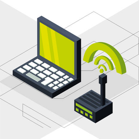 smartphone apps: isometric laptop with wifi connection vector illustration