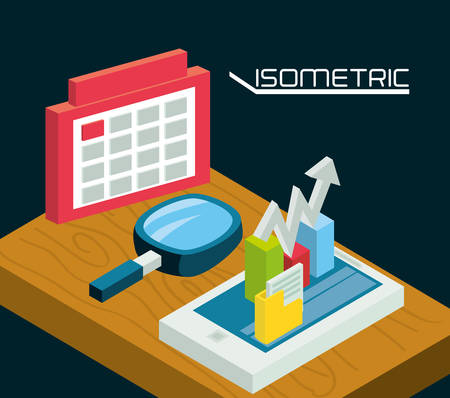 smartphone business: isometric smartphone with business apps vector illustration Illustration