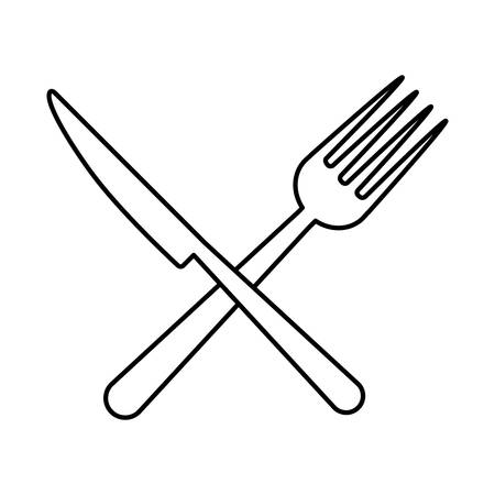 silver: fork and knife crossed icon over white background vector illustration