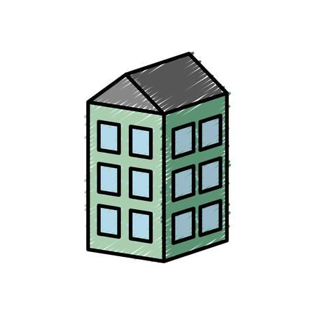 metropolitan: apartaments building icon over white background vector illustration
