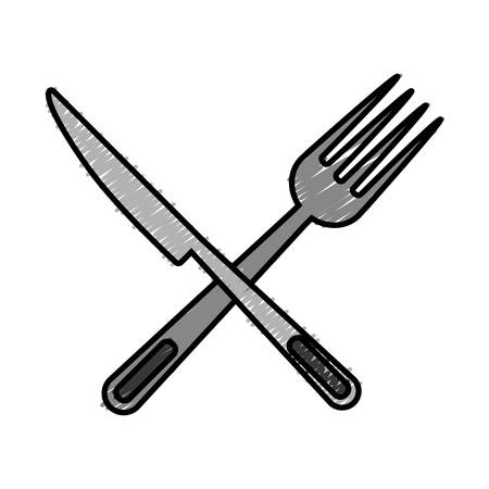 knife and fork crossed icon over white background vector illustration Çizim