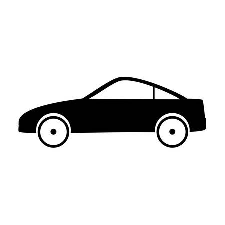 car tire: silhouette of car icon over white side view background vector illustration