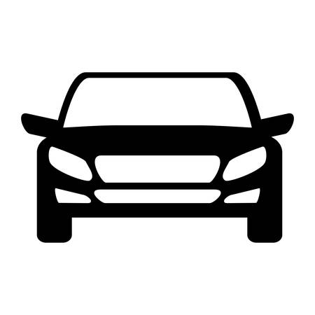 car tire: silhouette of car icon over white background front view vector illustration Illustration