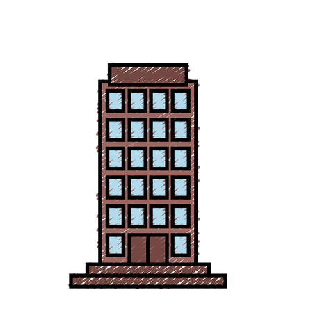city building icon over white background colorful design vector illustration