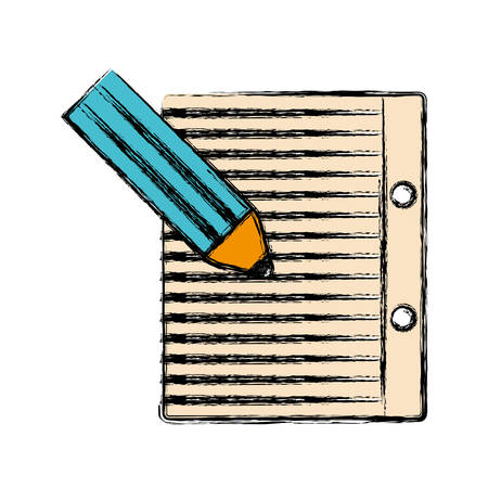 pencil and notebook page icon over white background vector illustration