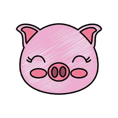 pig animal icon over white background vector illustration
