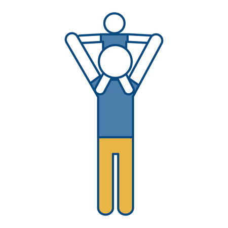 over the shoulders: pictogram man holding a kid in his shoulders icon over white background colorful design vector illustration