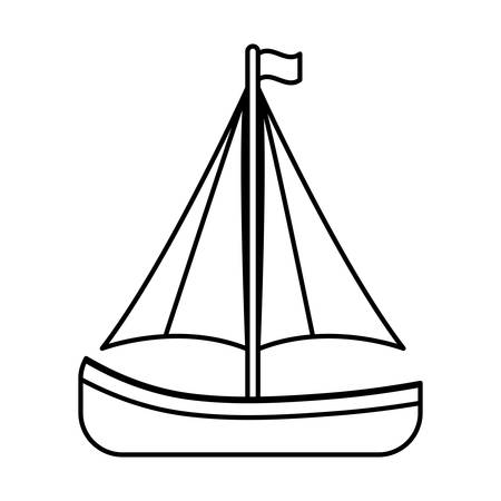 dinghy: sailboat icon over white background vector illustration