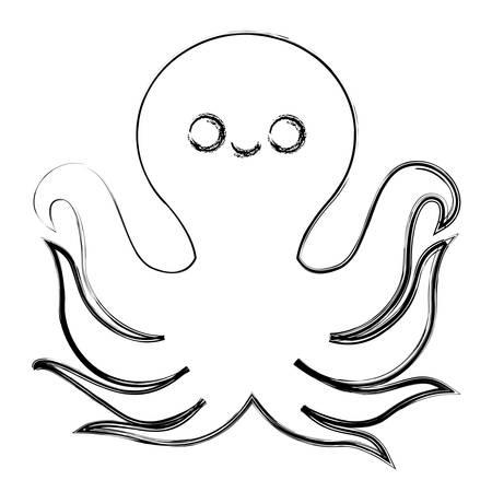octupus icon over white background vector illustration