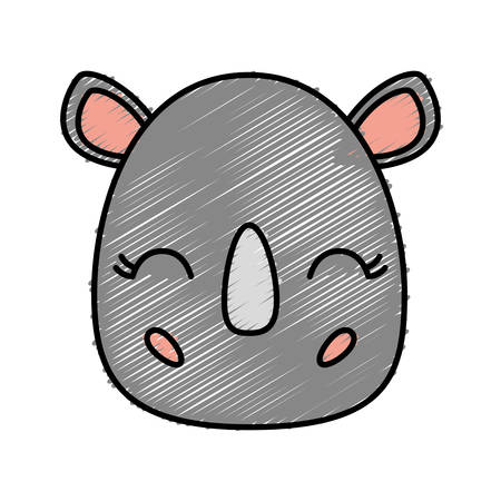 kawaii rhino animal icon over white background vector illustration