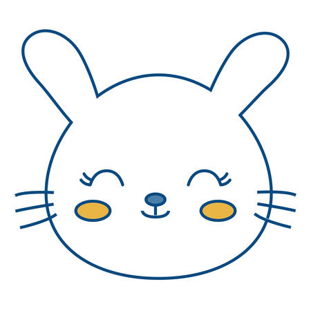A kawaii rabbit animal icon over white background vector illustration. Illustration