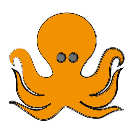 octopus icon over white background vector illustration