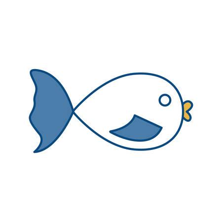 fish icon over white background colorful design vector illustration