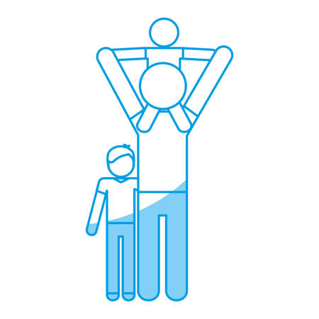 parenthood: pictogram man with his kids icon over white background vector illustration