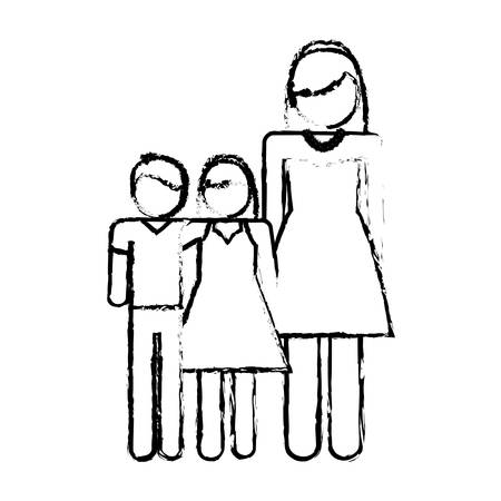parenthood: pictogram woman with her kids icon over white background vector illustration Illustration