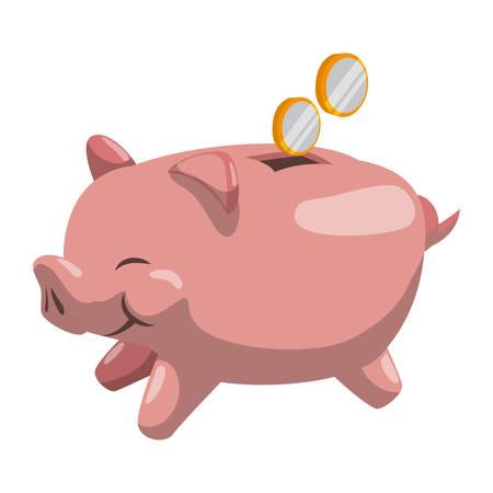 savings account: Piggy money savings icon vector illustration graphic design
