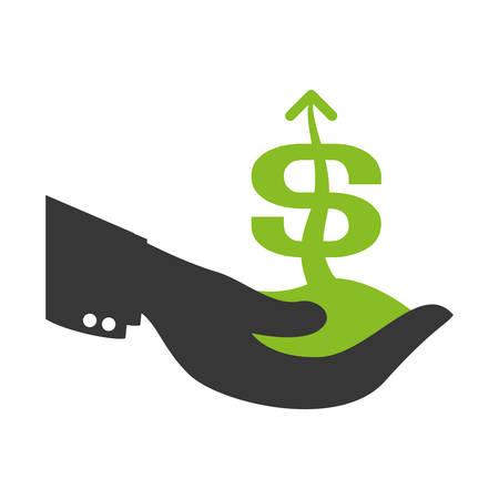 salarios: Hand with money icon vector illustration graphic design Vectores