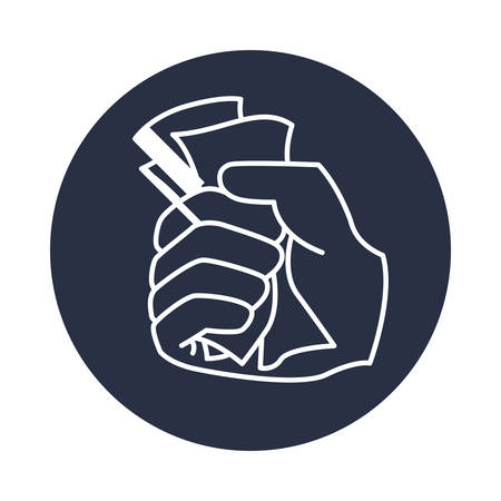 wages: Hand with money icon vector illustration graphic design Illustration