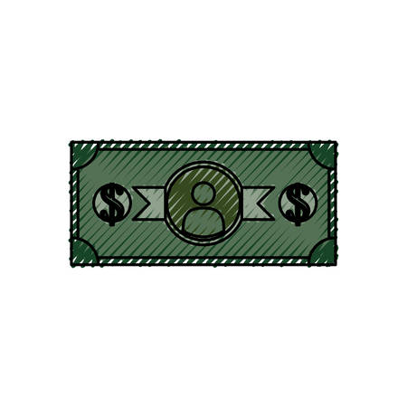 wages: Billet of money icon vector illustration graphic design Illustration
