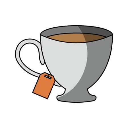 drown: Cup tea drink icon vector illustration graphic design