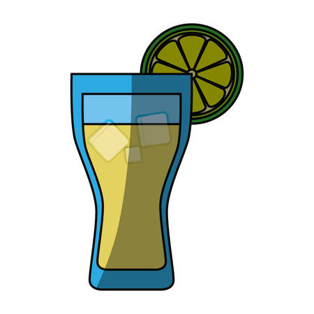 water reflection: Lemonade glass cold icon vector illustration graphic design