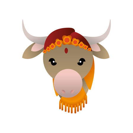 rural india: Indian sacred cow cartoon icon vector illustration graphic design