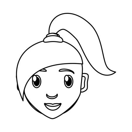 funny pictures: girl face cartoon icon vector illustration graphic design