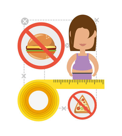 woman in diet plan to change the food vector illustration Illustration