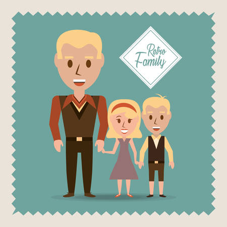 parenthood: retro family father their children vector illustration Illustration
