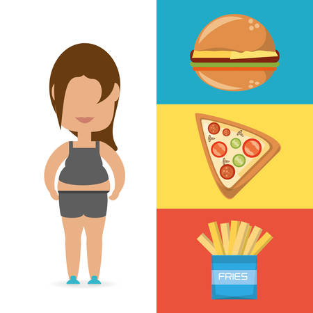 vitality: person fat for eat fast food vector illustration