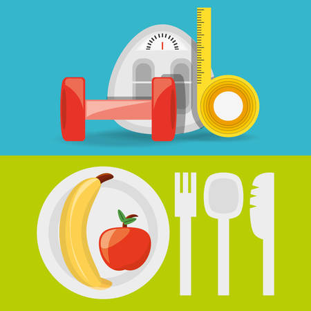healthy listyle to diet plan vector illustration