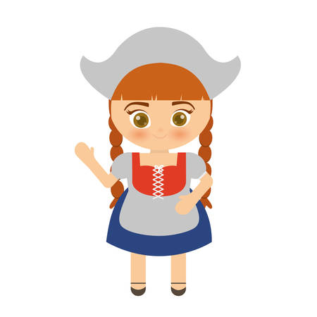 bavarian girl: cartoon girl with bavarian costume icon over white background colorful design vector illustration