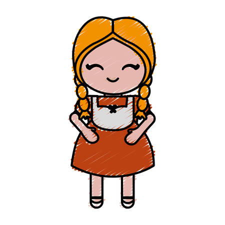 bavarian girl: woman wearing a bavarian costume icon over white background colorful design vector illustration