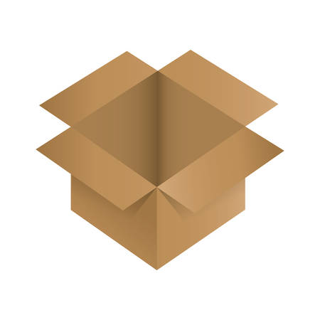 opened: opened carton box icon over white background colorful design vector illustration