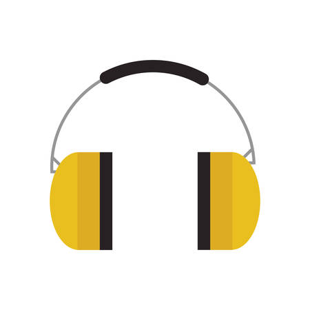 safety headphones icon over white background industrial security concept vector illustration Çizim