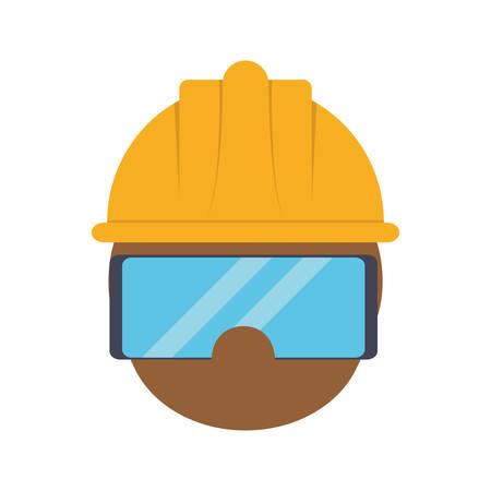 Mann mit Schutzhelm und Schutzbrille Icon über weißem Hintergrund industrielle Sicherheit Konzept Vektor-Illustration Vektorgrafik