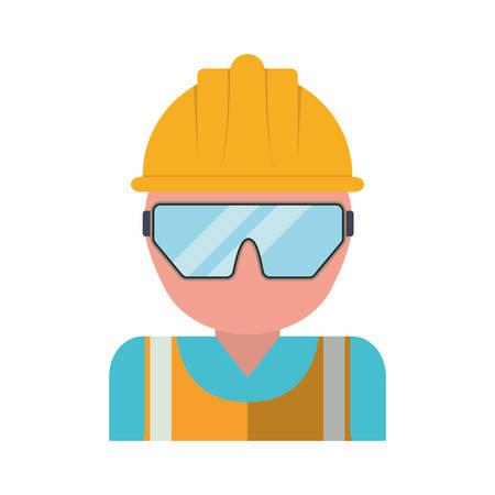 Hombre con seguridad casco y gafas icono sobre fondo blanco seguridad industrial concepto ilustración vectorial