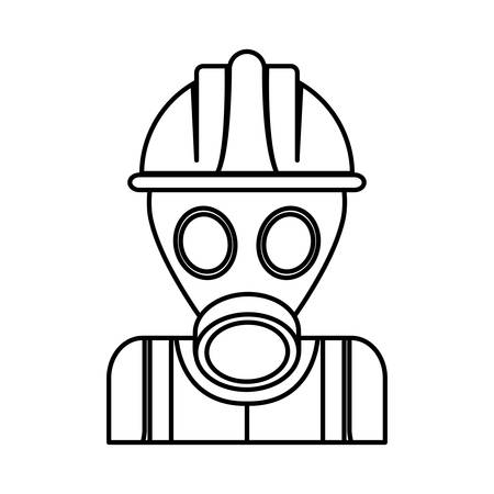 detection: man with safety helmet and gas mask icon over white background industrial security concept vector illustration