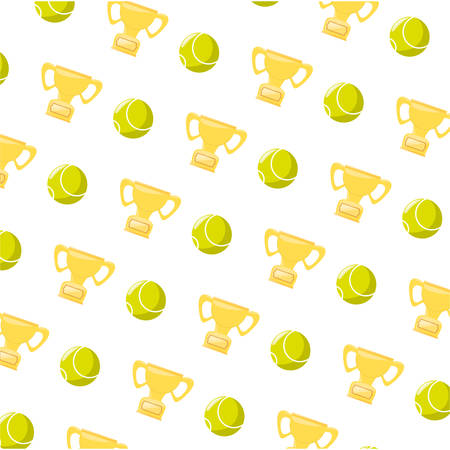 Tennis ball and trophy background icon vector illustration graphic design Illustration